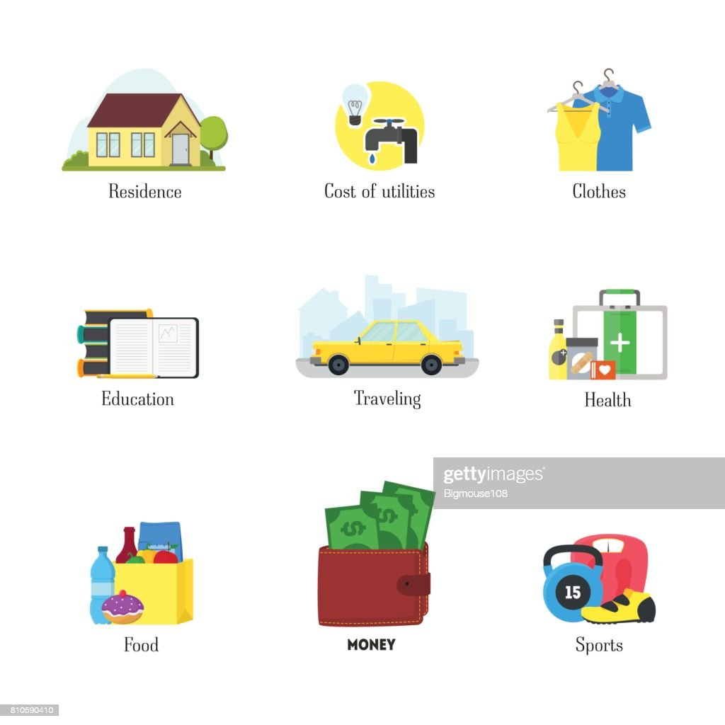 cartoon monthly expenses color icons set finance concept vector