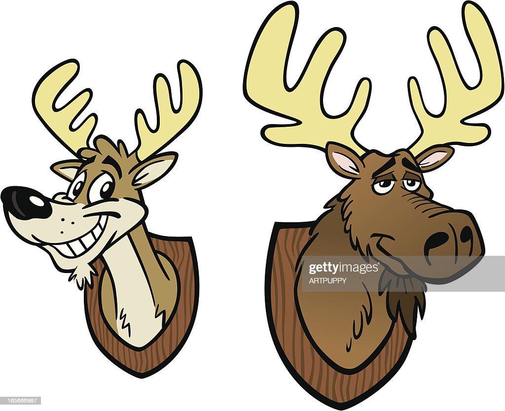 Cartoon Moose and Deer Heads