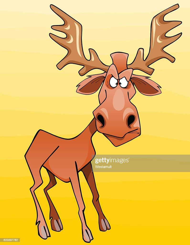 cartoon moose character looks angrily
