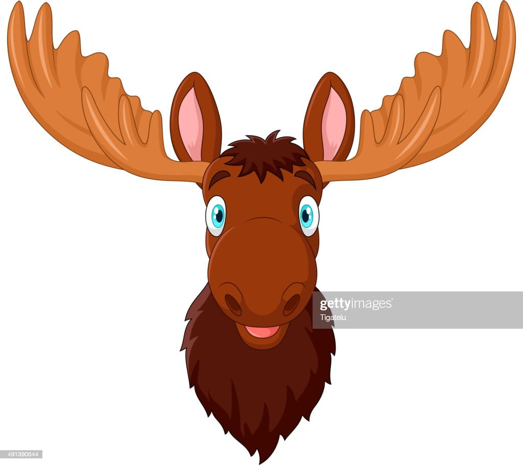 Cartoon moose head isolated on white background