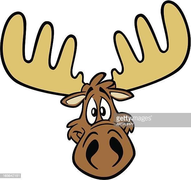cartoon moose head - elk stock illustrations