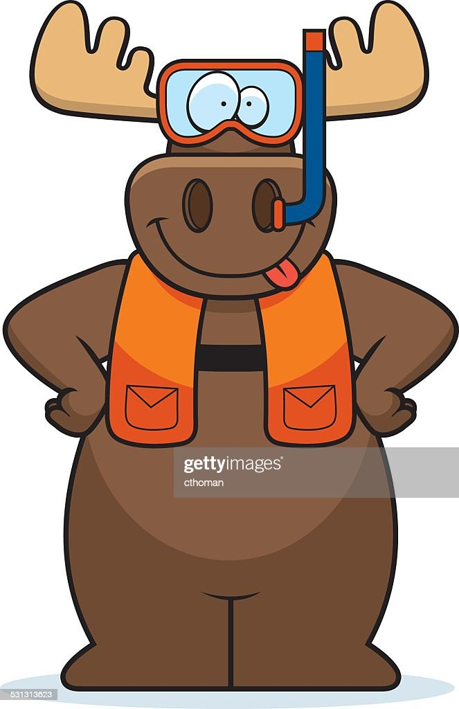 Cartoon Moose Snorkeling