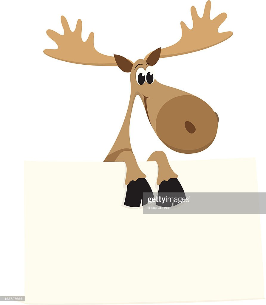 Cartoon moose with blank sign