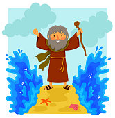 Cartoon Moses parting the red sea