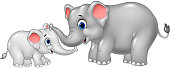 Cartoon mother and baby elephant bonding relationship