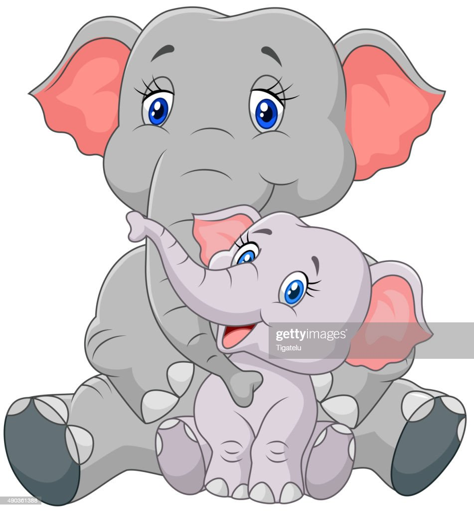Cartoon mother and baby elephant sitting isolated on white background
