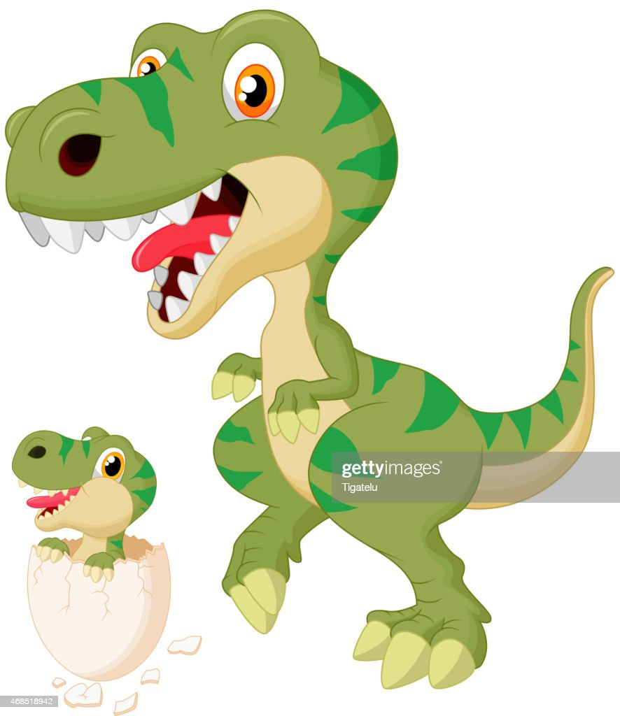 Cartoon Mother dinosaur with baby hatching
