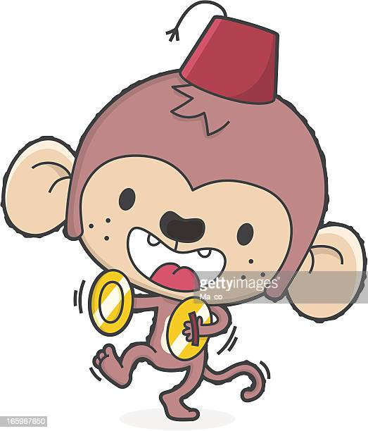 cartoon music monkey with fez makes noise - standing on one leg stock illustrations, clip art, cartoons, & icons