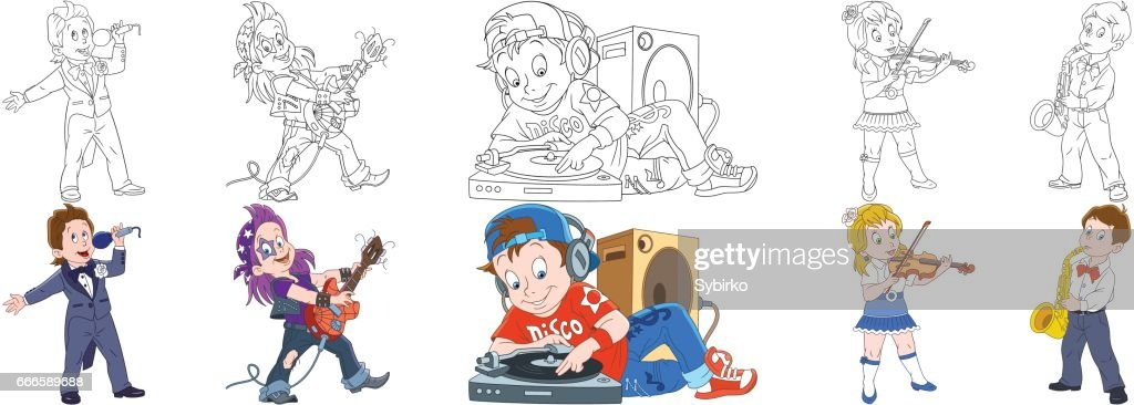 cartoon musical professions set