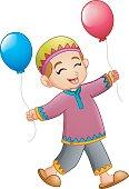 Cartoon muslim boy holding Balloon