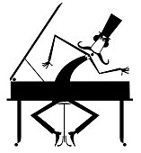 Cartoon mustache pianist is playing music on piano isolated illustration