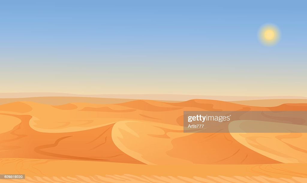 Cartoon nature empty sand desert landscape vector illustration.