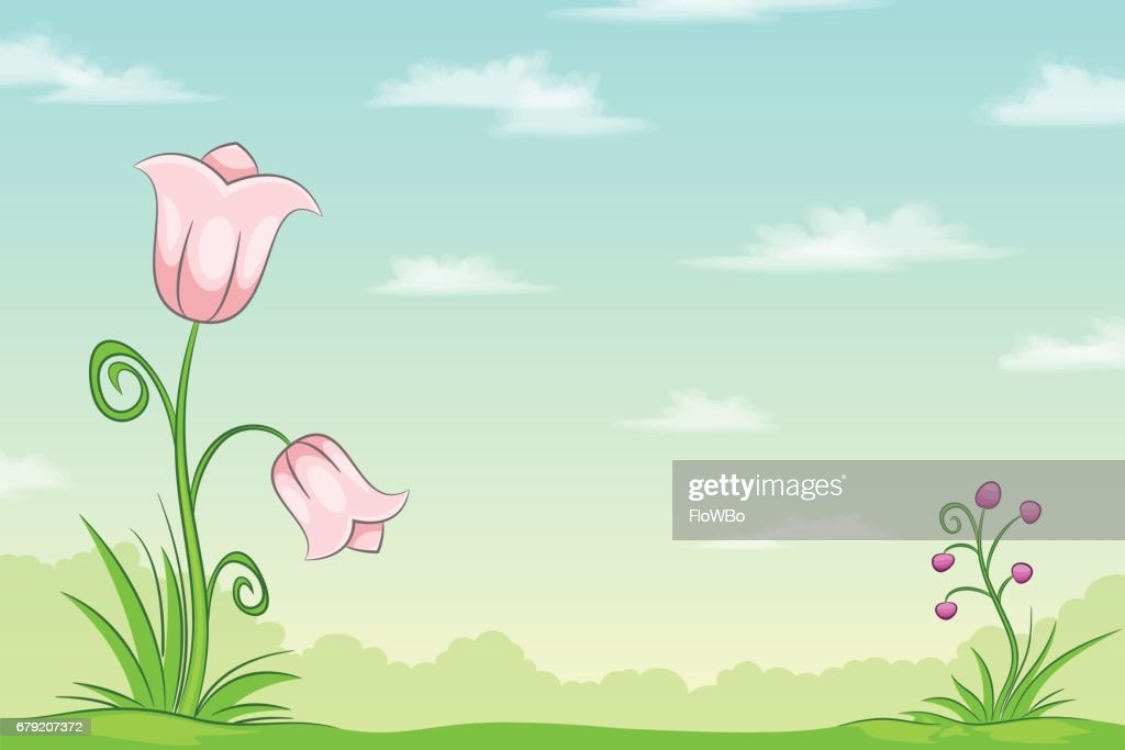 Cartoon nature landscape with flowers