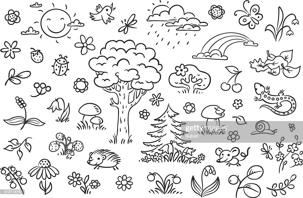 Cartoon nature set, black and white outline