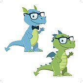 Cartoon nerdy hipster dragon mascot