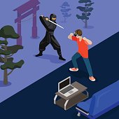 Cartoon ninja fight game screen shot concept vector illustration. Isometric 3d flat style playing video game screenshot. Man Fighting with Samurai by hands. Sofa laptop carpet room nature background.