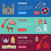 Cartoon Norwegian Travel and Tourism Banner Horizontal Set. Vector