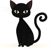 A cartoon of a black cat on a white background
