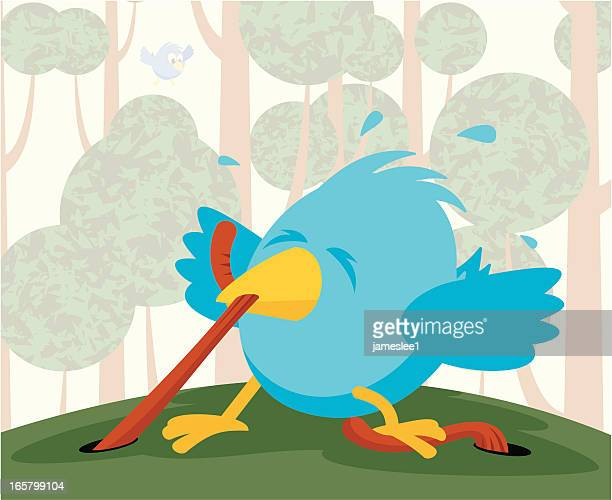 A cartoon of a blue bird getting a worm