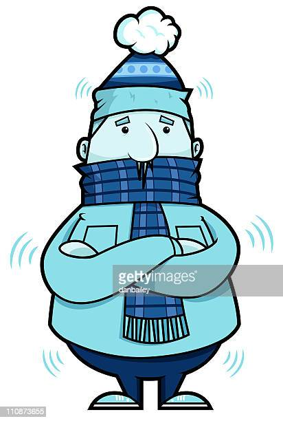 a cartoon of a blue man being cold - shaking stock illustrations