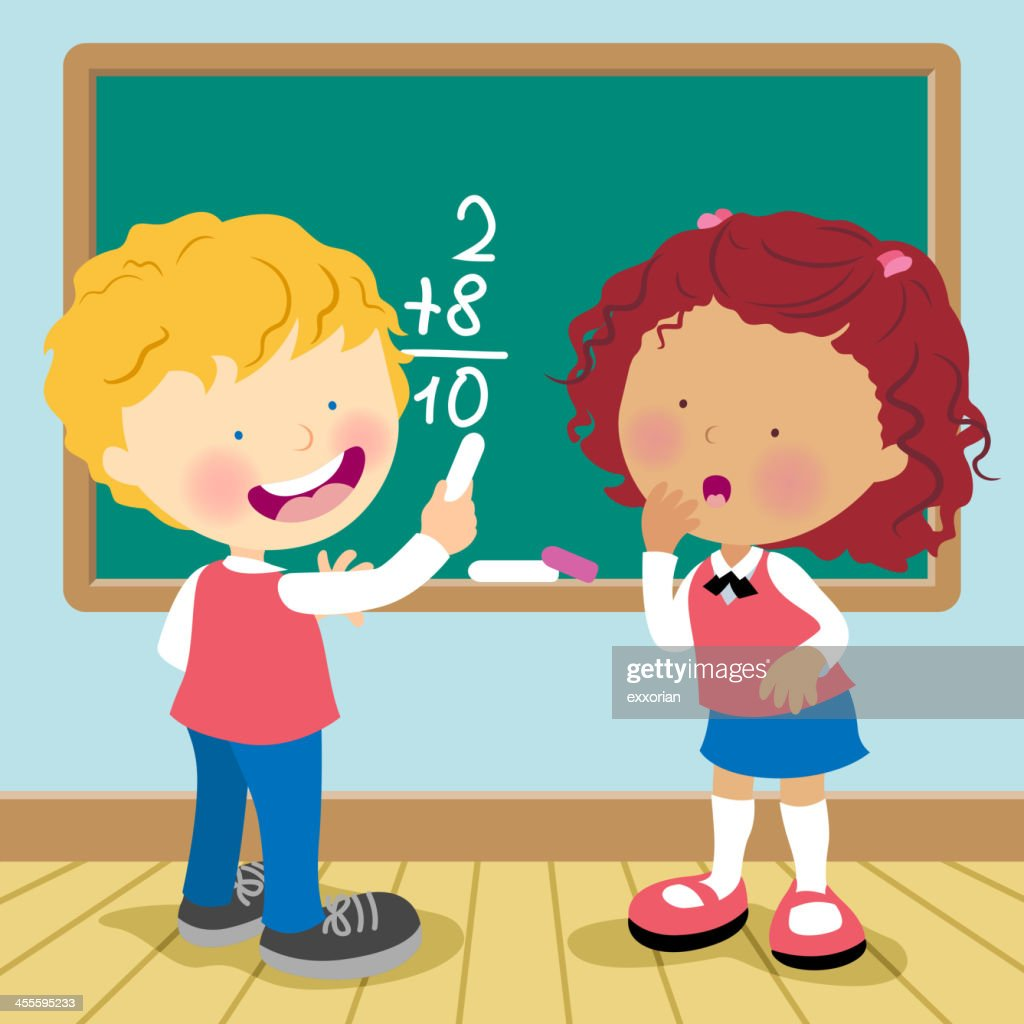 Cartoon of a boy and a girl doing math on a blackboard