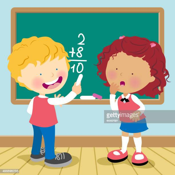 cartoon of a boy and a girl doing math on a blackboard - school uniform stock illustrations, clip art, cartoons, & icons