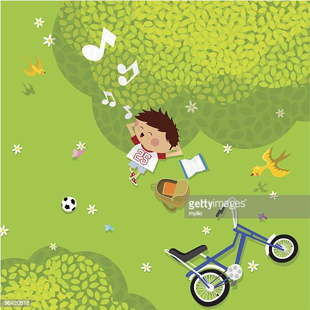 cartoon of a boy enjoying summer pastimes - messing about stock illustrations