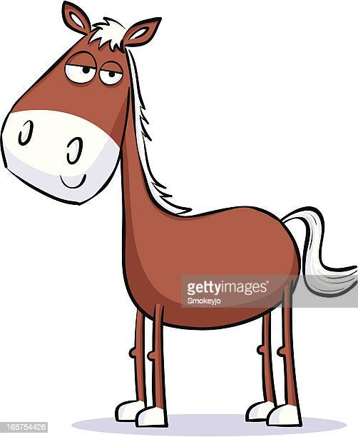 cartoon of a brown horse on a white background - pony stock illustrations, clip art, cartoons, & icons