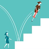Cartoon of a businesswoman on a pogo stick jumping up stairs