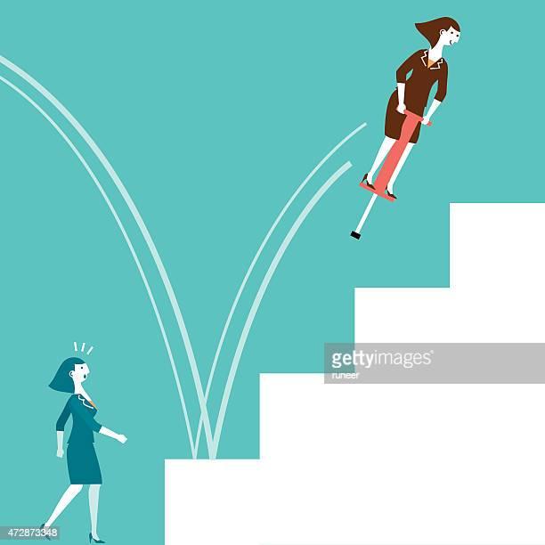 illustrations, cliparts, dessins animés et icônes de échass'à ressort saut femme d'affaires et de nouvelles biz - les marches de la gloire