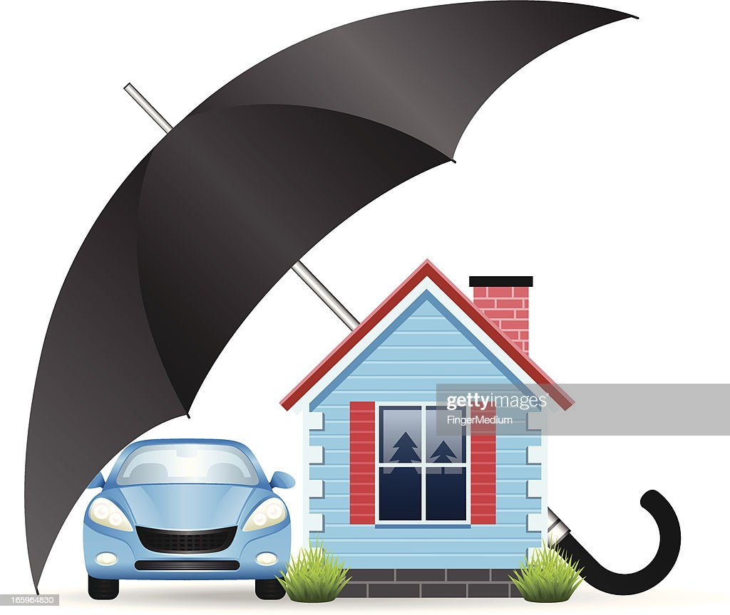 Cartoon of a car and house side by side under an umbrella