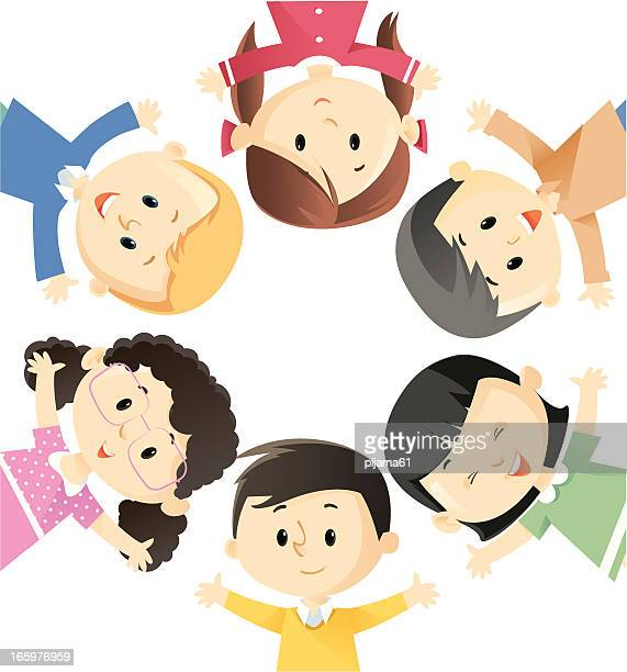Cartoon of a circle of children wearing different colors