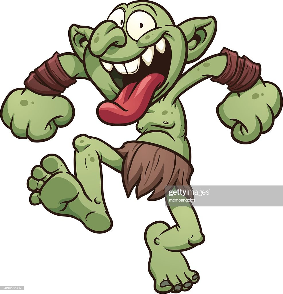Cartoon of a crazy green troll dressed in bearskin