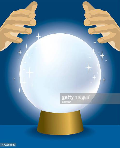 cartoon of a crystal ball with hands hovering over it - fate stock illustrations