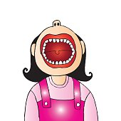 A cartoon of a cute young girl with her mouth wide open.