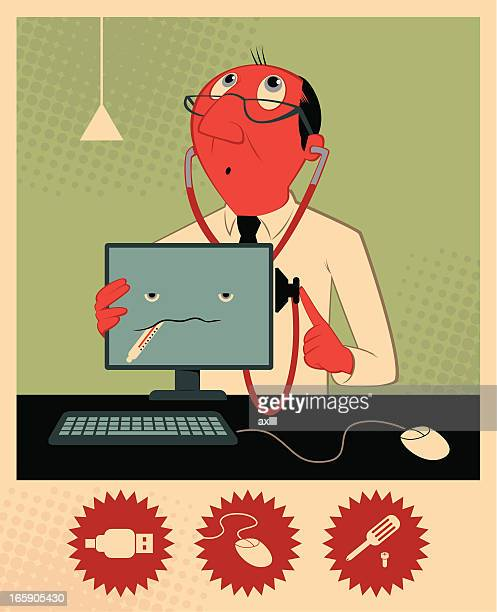 A cartoon of a doctor helping a computer
