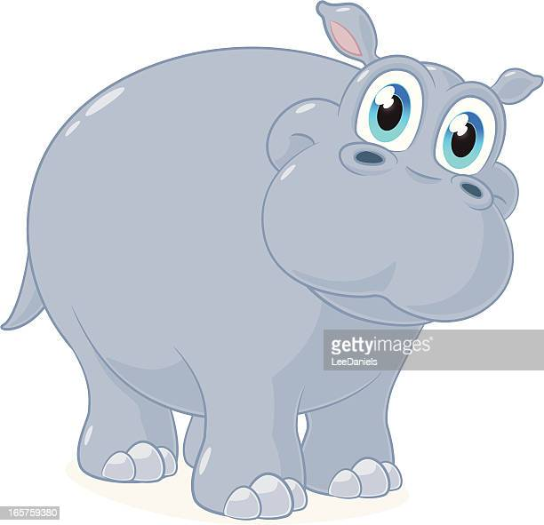 cartoon of a large friendly looking hippo - hippopotamus stock illustrations, clip art, cartoons, & icons