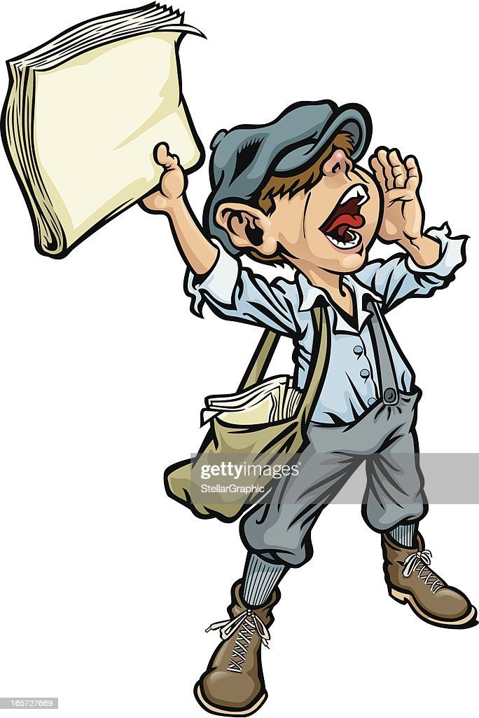 Cartoon of a paperboy yelling the news