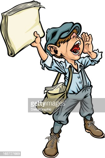 Cartoon Of A Paperboy Yelling The News stock illustration ...