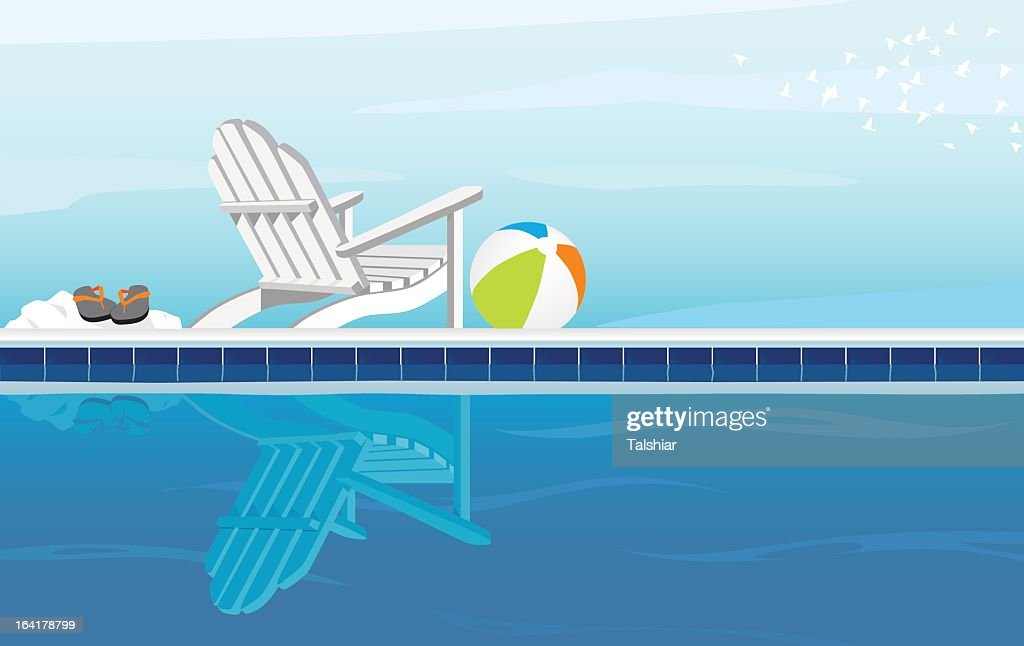 A cartoon of a pool on a cloudy day