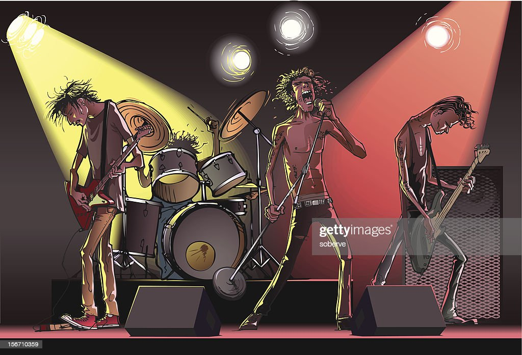 Cartoon of a rock band on stage : stock illustration