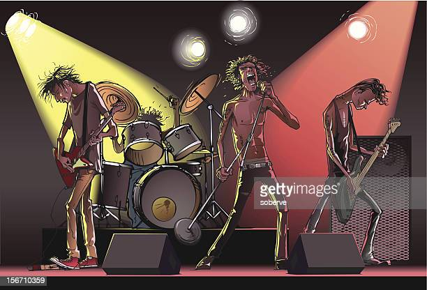 cartoon of a rock band on stage - snare drum stock illustrations, clip art, cartoons, & icons
