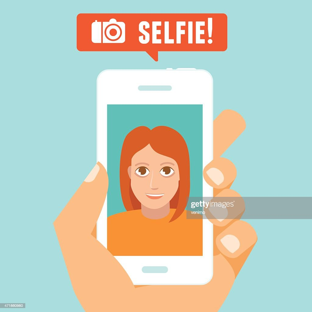 Cartoon of a selfie vector concept