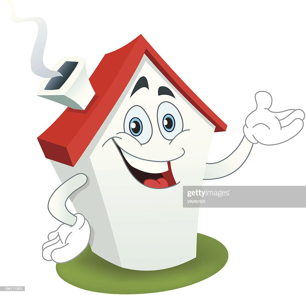 A cartoon of a smiling house with a red roof on white