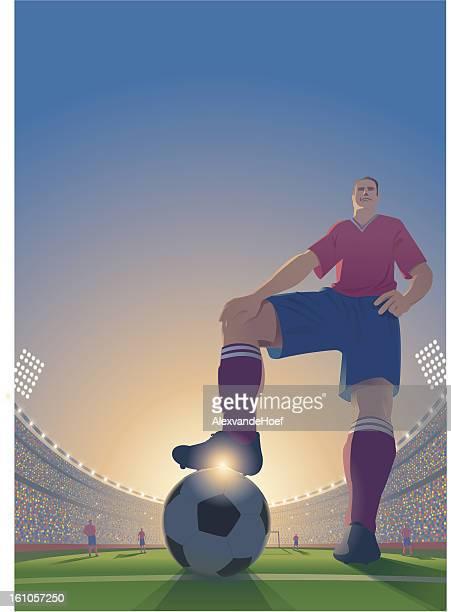 ilustraciones, imágenes clip art, dibujos animados e iconos de stock de dibujo de un jugador de fútbol. - gradas