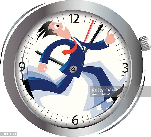 Cartoon of a stressed man running against time in a watch