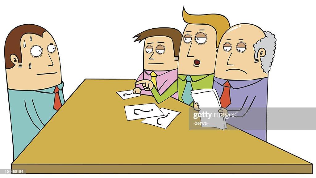 Cartoon of a sweating man having a job interview