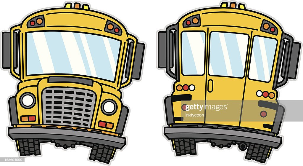 Cartoon of a yellow school bus showing front and back