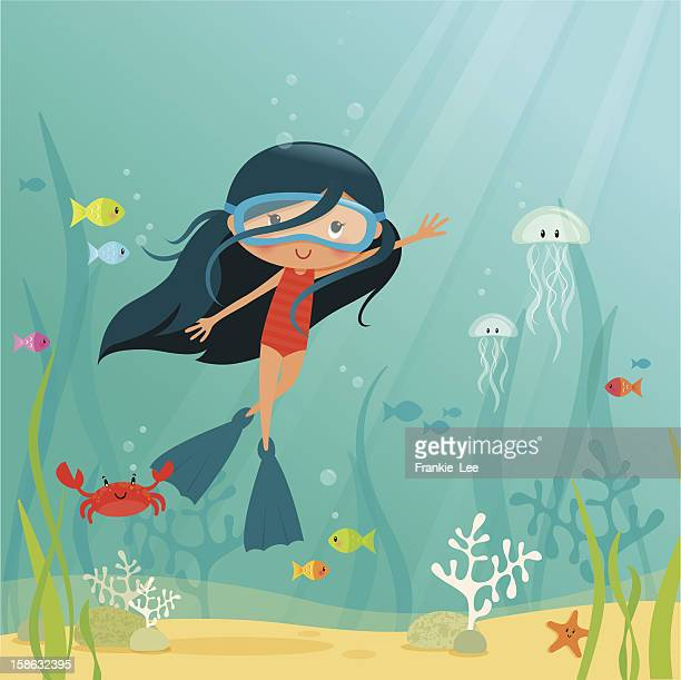 Cartoon of a young girl underwater