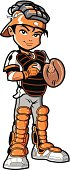 Cartoon of a young male baseball player in catcher gear